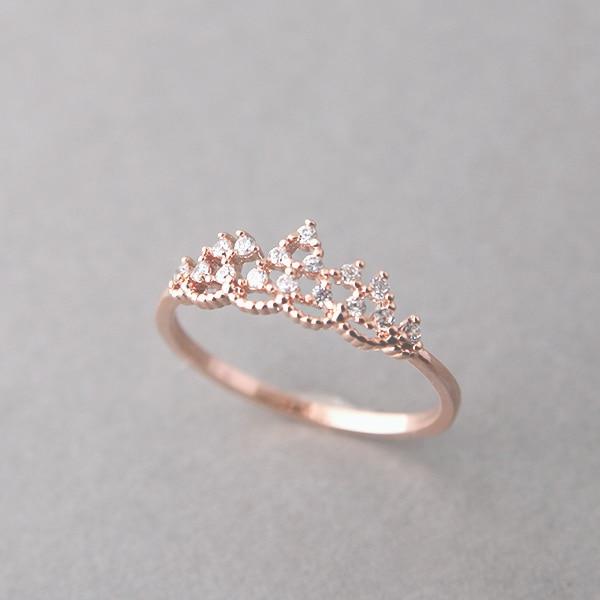 Princess tiara rose gold ring