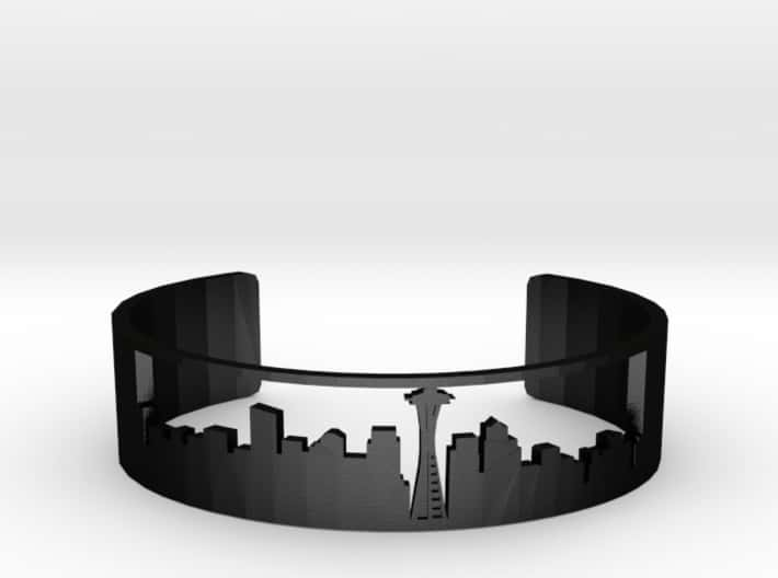 3D Printed Bracelet With Seattle Skyline