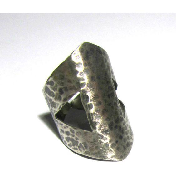 Geometric oxidised cuff bracelet