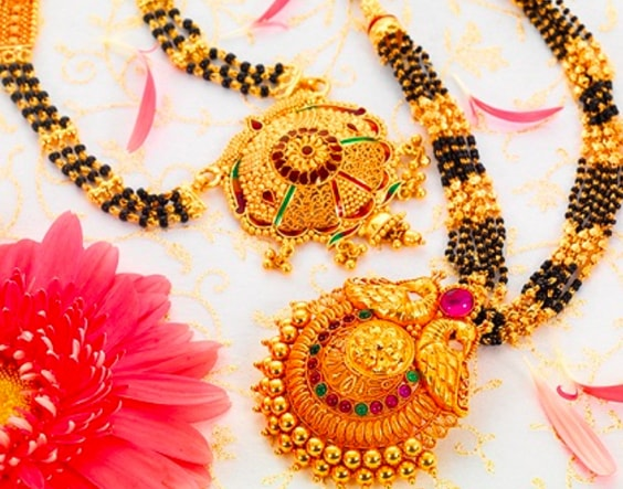 Traditional gold and black bead mangalsutra