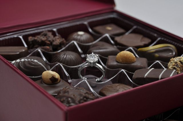 chocolate box with engagement ring