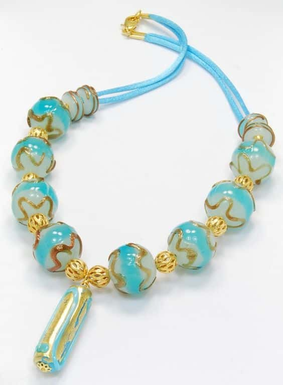 Murano aqua and gold necklace