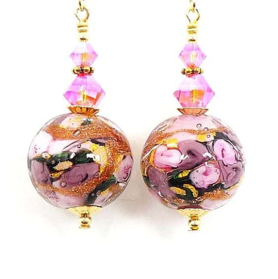 Murano pink lampwork earrings Etsy