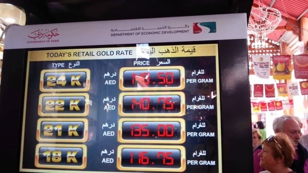 Gold rate in Dubai
