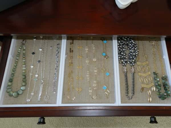 Lay Beaded Necklaces Flat in Draw