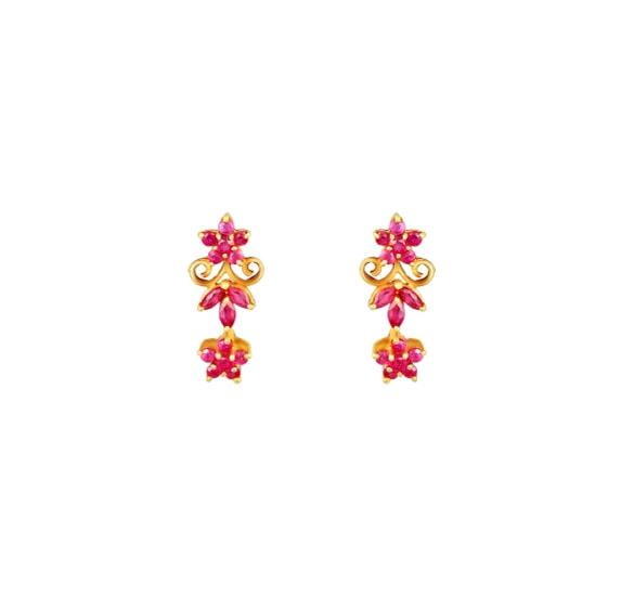 18 Karat Yellow Gold Ruby Studded Drop Earrings