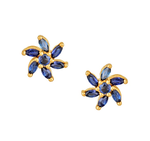 18 Karat Yellow Gold Stud Earrings With Sapphire