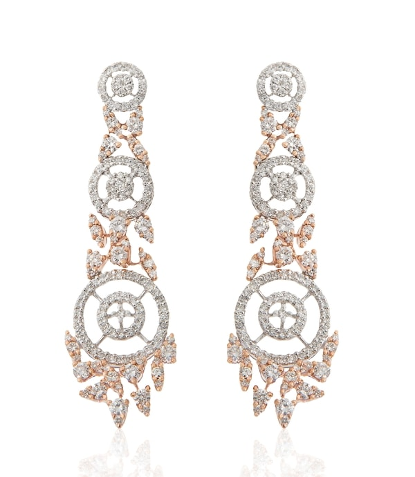 Diamond Rose Gold Long Earrings By Minawala