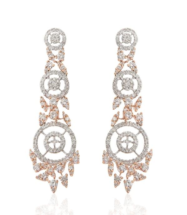 Diamond Rose Gold Long Earrings By Minawala