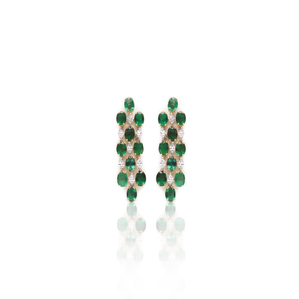 Emerald Diamond Earrings By RK Jewellers