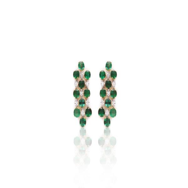 Emerald Diamond Earrings By RK Jewellers