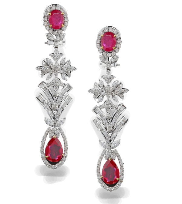 Gemstone Diamond Earrings By RK Jewellers