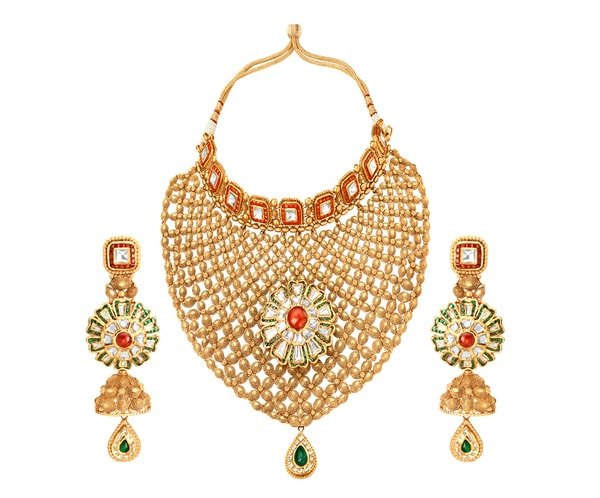 Glass Kundan Necklace Set