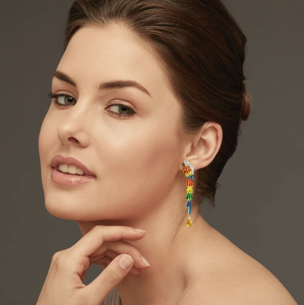 Scarlet Macaw Mismatch Drop Earrings