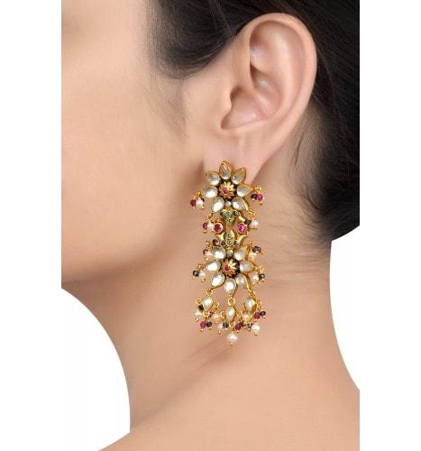 Silver Gold Plated Enamelled Floral Multi Crystal Pearl Drop Earrings