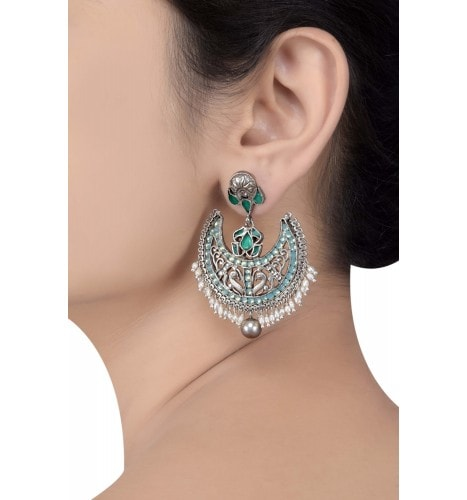 Silver Oxidised Floral Green Aqua Glass Pearl Drops Earrings
