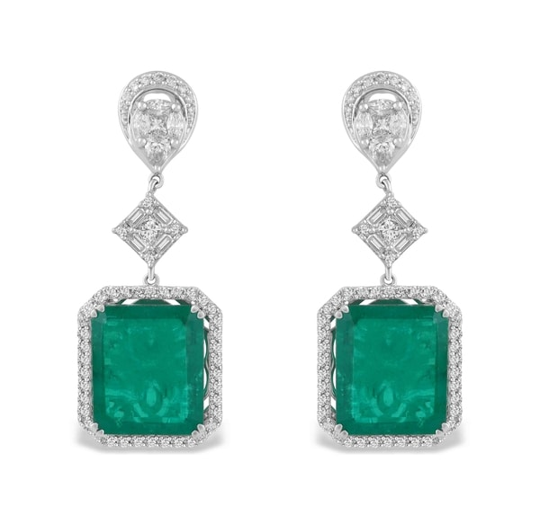 TBZ Diamond & Emerald Earrings