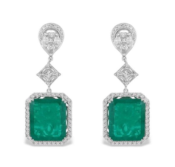 TBZ Diamond & Emerald Earrings
