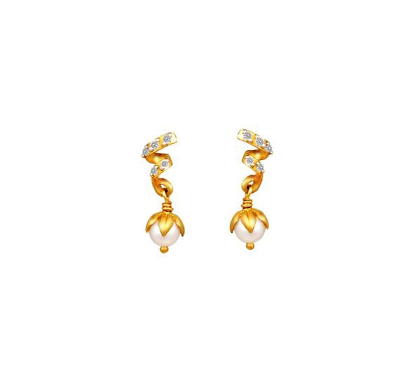 Tanishq 18KT Yellow Gold Diamond and Pearl Drop Earrings with Helical Design
