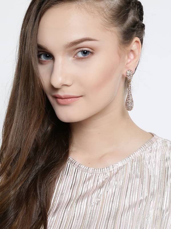 youBella Rose Gold-Plated Stone-Studded Drop Earrings