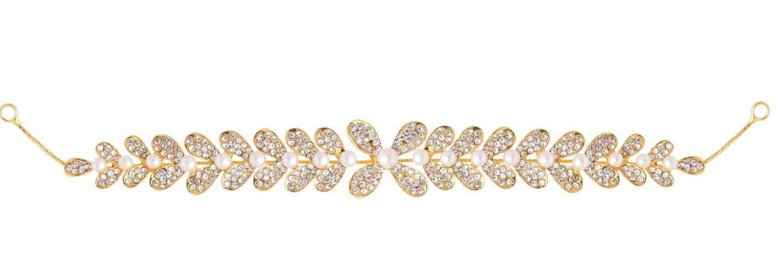 Aaishwarya Golden Pearl and Stones Leaf Design Tiara
