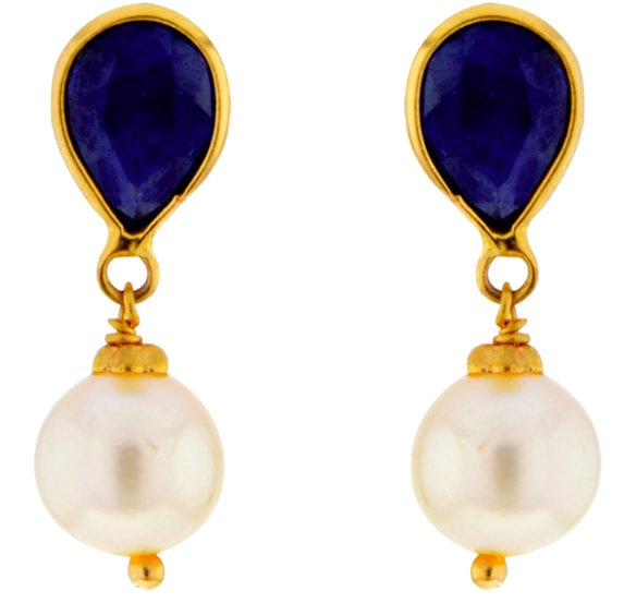 Blue Sapphire with Pearl Gold Earrings by Sree Jagdamba Pearls