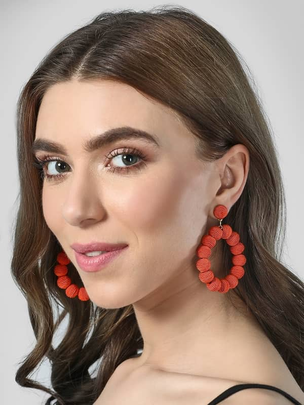 Blueberry Brown Textured Hoop Earrings