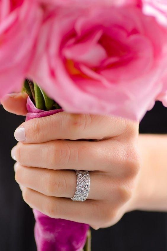 Paved-diamond rings
