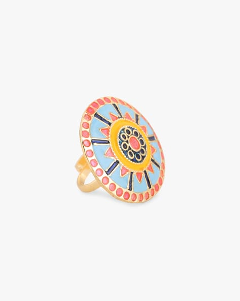 Rubans Enamel Hand Painted Adjustable Metal Alloy Ring