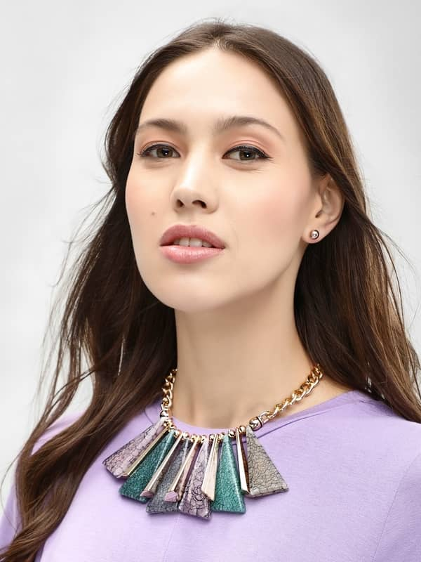 Style Fiesta Marble Effect Stone Necklace
