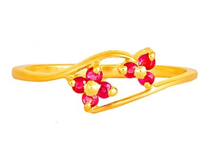 Tanishq 18KT Yellow Gold Ruby Finger Ring with Floral Design