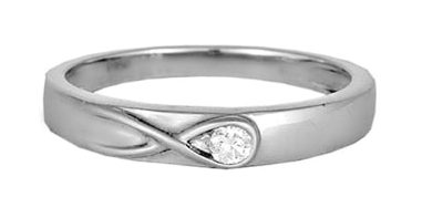 Tanishq 950KT Platinum Diamond Finger Ring with Ribbon Design