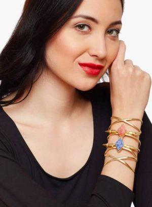ZeroKaata Golden:Blue Brass Bracelet