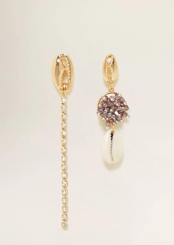 Asymmetric shell earrings