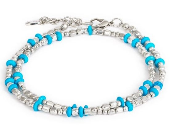 blue metal beady anklet