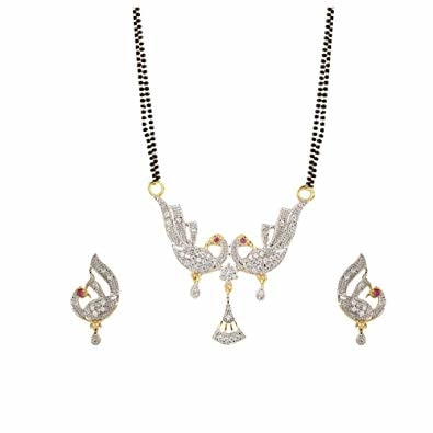 Gold Plated Peacock Shaped American Diamond Mangalsutra