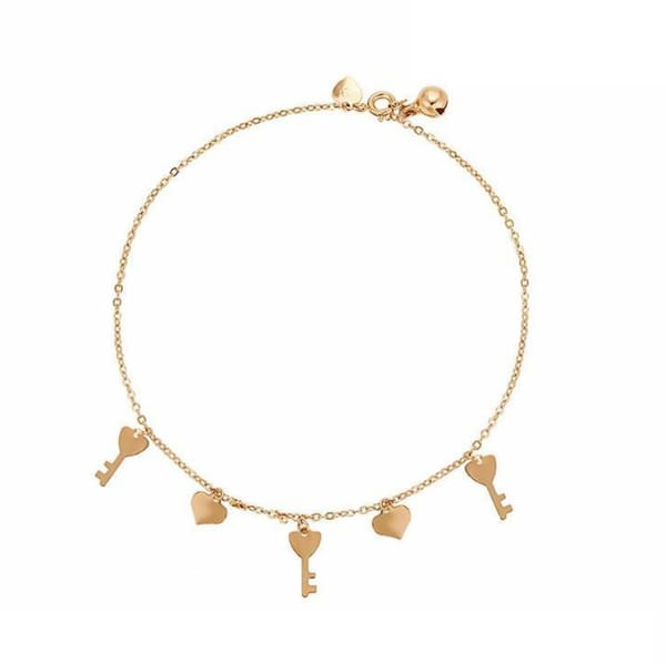 Heart Key anklet