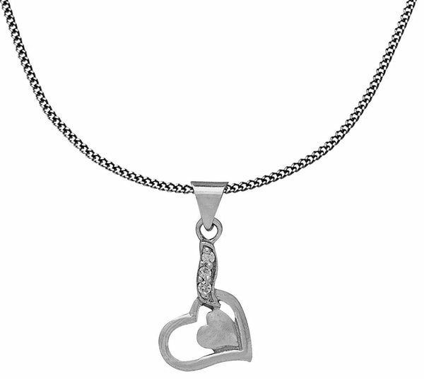 Heart Necklace Silver Chain Indian