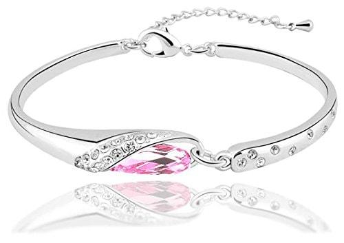 Light Pink Austrian Crystal Charm Bracelets