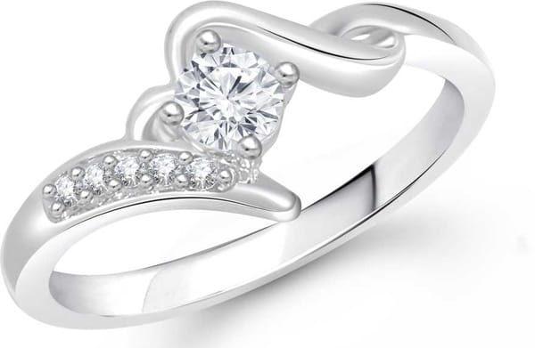 Meenaz Jewellery Diamond Silver Solitaire Rings