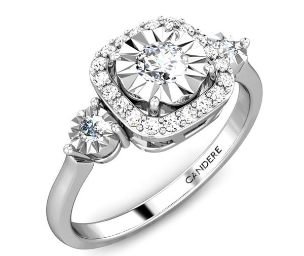 RADIANT HALO MIRACLE PLATE DIAMOND RING