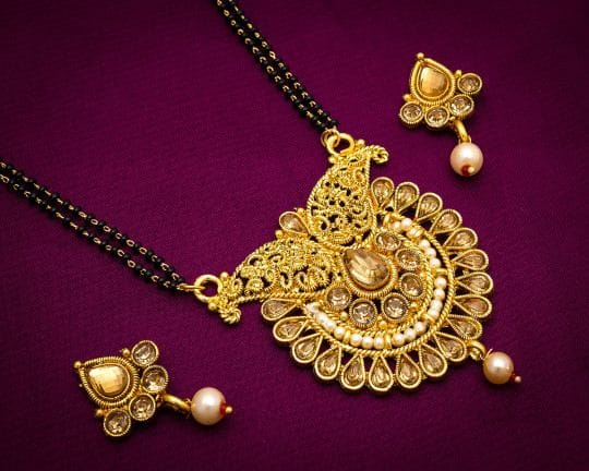 yellow Gold Finish Alloy Metal American Diamond Traditional Mangalsutra