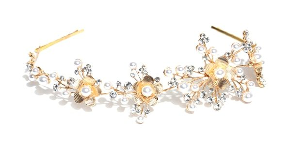 Gold-Plated Stone-Studded Hairband