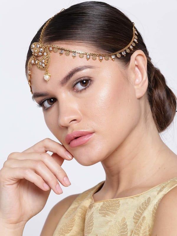 Gold-Plated Stone-Studded Matha Patti