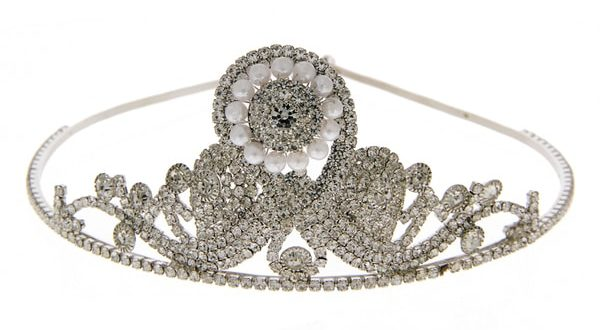 Silver Finish Moti Styled Hair Crown Pin