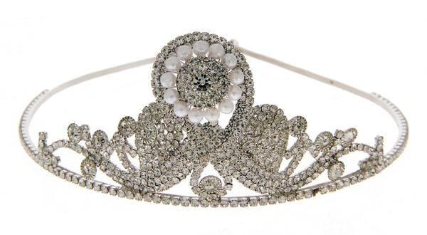 Silver Finish Moti Styled Hair Crown Pin
