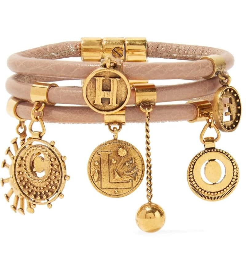 Leather & Gold Tone Charm Bracelet By Chloe